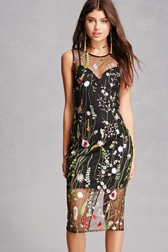 572ef5926b A sheer mesh woven dress featuring allover floral and butterfly embroidery