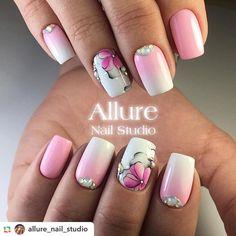 Pink Gel Nails, Fancy Nails, Nail Manicure, Diy Nails, Pretty Nails, Acrylic Nails, Floral Nail Art, Pink Nail Art, Beautiful Nail Designs