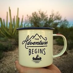 The adventure begins enamel mug   camping and hiking gear   @dirtywithme