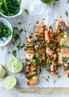 30 minute sweet thai chili salmon skewers from how sweet eats Skewer Recipes, Easy Fish Recipes, Seafood Recipes, Dinner Recipes, Cooking Recipes, Healthy Recipes, Pike Recipes, Dinner Ideas, Weeknight Recipes