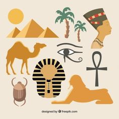 Elements of the Egyptian culture Ancient Egypt Activities, Ancient Egypt For Kids, Ancient Egyptian Art, Ancient Egypt Crafts, Egyptian Drawings, Egypt Design, Egyptian Party, Vbs Themes, Kairo