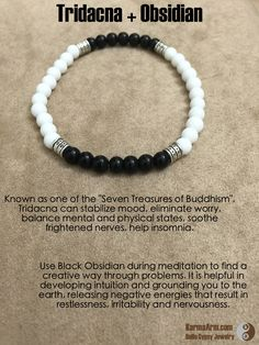 """Known as one of the """"Seven Treasures of Buddhism"""", Tridacna can stabilize mood, eliminate worry, balance mental and physical states, soothe frightened nerves, help insomnia. Tridacna also has high medicinal value, can keep health, reduce blood pressure, promote the body metabolism, anti-age, prevent osteoporosis.  BALANCE: Tridacna + Obsidian Yoga Mala Bracelet"""