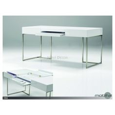 Oma Desk by Mobital Home Decor Shops, Luxury Home Decor, Home Office, Office Desk, Steel Table, Desk Organization, Organizing Ideas, Brushed Stainless Steel, Indoor Outdoor