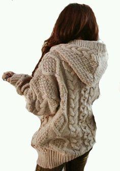 Khaki Geometric Collar With Hat Loose Wool Cardigan, looks warm and cozy! Hooded Cardigan, Wool Cardigan, Sweater Hoodie, Comfy Sweater, Sweatshirt, Sweater Weather, Looks Style, Style Me, Moda Crochet