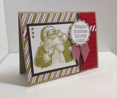 Diana's holiday card uses Santa's List, Christmas Messages, Season of Style dsp, and Pretty Print embossing folder.