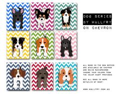 Chevron nursery decor. ANY 3 Puppy dog art prints. kids wall art, kids decor. Dog nursery themed children decor. 3 - 8x10 prints by WallFry. $37.00, via Etsy.