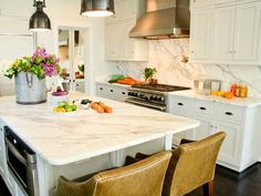 Light colored Marble, with matching back splash. Pretty!