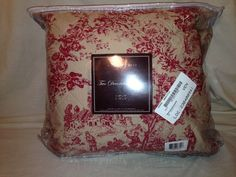 French Toile 100% Cotton Set of 2 Decorative Pillows Red New
