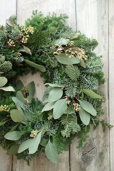 Wreath with Eucalyptus leaves and evergreens