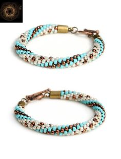 Handmade bracelet with bronze and turquoise spirals and bronze dots on cream with toggle clasp - beaded Kumihimo jewelry by Whirlpool Galaxy