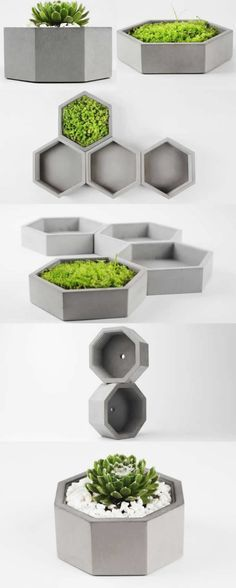 Gray Concrete Geometric Succulent Planter Flower Pot Office Desk Stationery Or… Gray Concrete Geometric Succulent Planter Flower Pot Office Desk Stationery Organizer Tray Concrete Crafts, Concrete Projects, Concrete Planters, Succulent Planters, Garden Planters, Cement Art, Beton Design, Geometric Decor, Flower Pots