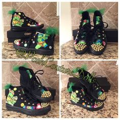 """CUSTOM NINJA TURTLES INSPIRED CONVERSE!  TO ORDER: www.poshcouturedollsstore.mybigcommerce.com ☑️ANY SIZE ☑️ANY COLORS ☑️ANY THEME ☑️ANY CHARACTER ☑️TEXT FOR PAYPAL INVOICE 404-566-6201 ☑️MUST BE READY TO PAY #customchucks #customconverse #shoes #bling #docmcstuffins #kidsboutique #allstars #converse #custom #handcrafted #oneofakind #pinkpurple #girlsconverse #chucks #NINJATURTLES ❤️"" Photo taken by @poshcouturedolls on Instagram, pinned via the InstaPin iOS App! http://www.instapinapp.com…"