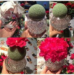 51 Ideas For Party Table Centerpieces Diy Dollar Stores Flower Ball Bling Centerpiece, Party Table Centerpieces, Centerpiece Ideas, Bling Wedding Centerpieces, Dollar Tree Centerpieces, Simple Centerpieces, Flower Ball Centerpiece, Table Decorations, Sweet Sixteen Centerpieces