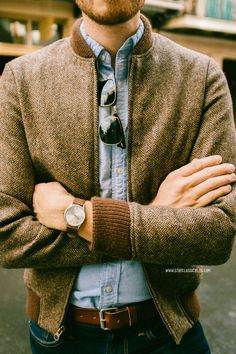 Tweed bomber jacket. Men's vintage style