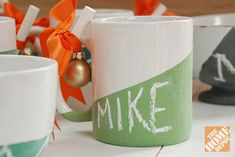 Make these for Xmas Gifts - Chalk board mugs. So cute and customizable.