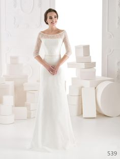 d6653885baeb Elegant long sleeve wedding dress straight by soniaandbrides