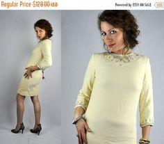 SALE 50s 60s Pearls Beaded WOOL Jewels Dress by ItaLaVintage