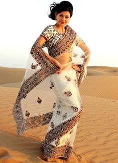Scintillating Off White Net Embroidered Saree