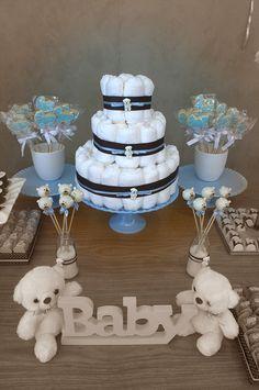 Cha de bebe Ursinho | Debora Abreu Cakes | São Paulo Baby Shower Oso, Bebe Shower, Mini Diaper Cakes, Diaper Cake Boy, Baby Girl Names, Baby Boy, Diy For Girls, Christening, Candy