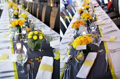 The floral centerpieces – shells, yellow flowers (cymbidiums, Holland mums, spider mums) in clear vases.