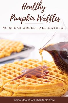 Celebrate fall flavors with these delicious Healthy Pumpkin Waffles. Made with whole wheat flour and NO added sugar, they are perfect for breakfast or brunch! Bonus: they freeze well too! #pumpkinwaffles #fallfoods #healthywaffles #makeaheadrecipe #breakfastrecipe