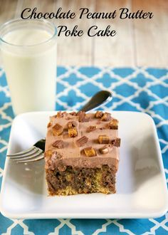 Chocolate Peanut Butter Poke Cake - peanut butter cake, soaked in chocolate, topped with chocolate frosting & Reese's!! Peanut butter chocolate overload!