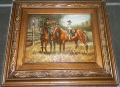 Oil Painting Cowboys on Horses Gorgeous Carved Wood Frame Painting on Board #Realism
