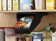 Small Pull-Out Pantry Drawer  Designed for wire and wood shelving, the Rubbermaid Small Drawer mounts under shelves and slides out and down so you can easily access stored items like spices, packets or even linens. It can hold two standard sized packages of wraps such as aluminum or plastic wraps. This is the perfect product to maximize your storage space in your pantry as it creates storage in the unused space under your shelves.