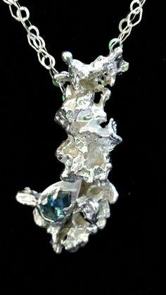 Salt cast sterling silver and London Blue Topaz RobrtasJune Fine Jewellery