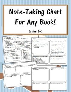 FREE This Note-Taking Chart is a simple graphic organizer to help students in grades 3-6 take notes when reading or after reading a chapter of fiction!...
