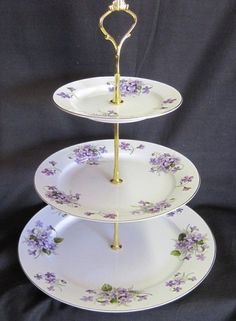 3 Tier Wild Violet Bone China Cake Stand. Garden DecoChina PlatesVintage ... & one of many scrumptious vintage plate cake stands   Covetousness ...