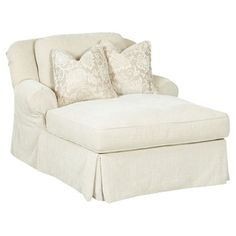 Showcasing off-white upholstery, rolled arms, and a tailored skirt, this understated chaise offers a neutral anchor for colorful pillows and decor. Joss and Main Coastal Furniture, Furniture Decor, Furniture Shopping, Bedroom Seating, Sofa Upholstery, Upholstery Nails, Upholstery Cleaning, Colorful Pillows, My Living Room