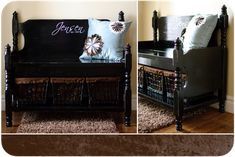 Create a bench out of old crib/twin head board and footboard. Great way to keep for sentimental reasons without just storing:)