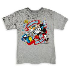 Product Image of Mickey Mouse ''Celebrate'' T-Shirt for Boys - Walt Disney World # 1 Disney Shirts For Family, Shirts For Teens, Couple Shirts, Kids Shirts, Slimming World, Beauty And The Beast Silhouette, Mickey Shorts, Mickey Mouse Images, Disney Sketches