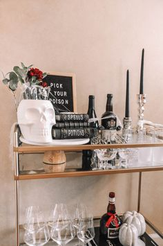 How to design the perfect Halloween bar cart with a few simple tips | Halloween bar cart decor, Halloween bar cart ideas #barcart #halloweendecor Halloween Crafts, Halloween Decorations, Bar Cart Decor, Put Together, New York Style, Living In New York, Cool Style, My Favorite Things, Simple