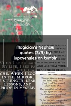 Magician's Nephew quotes (3/3) by lupevensies on tumblr Nephew Quotes, Blessed Quotes, River Bank, The Magicians, Tumblr