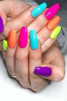 Colorful Nail Art Designs That Scream Summer; Colorful Nail Art Designs That Scream Summer; Colorful Nail Art, Colorful Nail Designs, Acrylic Nail Designs, Nail Art Designs, Multicolored Nails, Nails Design, Rainbow Nails, Neon Nails, My Nails