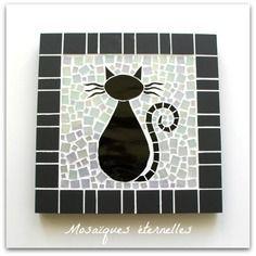 """Dessous de plat en mosaïque """"chat noir"""" - format 16 x 16 cm - sur commande"""