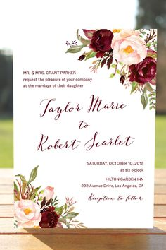 Marsala Wedding Invitation Set, Burgundy Blush Wedding Invites, Bohemian Wedding Invitations, Floral Wedding, Fall Wedding Invitation, Winter Wedding, Watercolor Florals, Wine Marsala Burgundy Blush