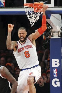New York Knicks' Tyson Chandler reacts after dunking during the second half of NBA basketball game against the Brooklyn Nets, Wednesday, Dec. 19, 2012, at Madison Square Garden in New York. The Knicks won 100-86