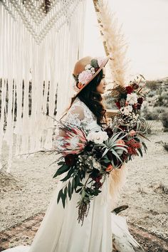Boho desert elopement with geometric details
