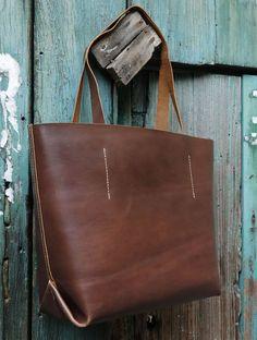 045 Brown Leather Tote Bag Tote Brown Vegetable by alwaysoozz on Etsy