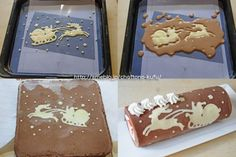 Fill a pastry bag with the batter for the pattern and draw that, bake it in the oven for a minute and a half, and then fill in the rest with the sponge cake batter. Swiss Roll Cakes, Swiss Cake, Cupcakes, Cupcake Cakes, Christmas Sweets, Christmas Cooking, Christmas Deco, Cake Roll Recipes, Decoration Patisserie