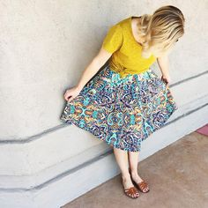 LuLaRoe Madison Skirt and Classic Tee. Love this skirt style and the pockets.