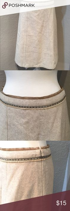 Gap Part Wool Tan Skirt Size 8  64% wool, 27% nylon, 6% acrylic, and 3% other fibers, like new condition  GAP Skirts A-Line or Full