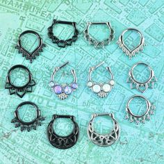 Limited Time Only - Special Value Pack Quantity: 12 pieces piece in each style pictured) Gauge: available in Material: stainless steel / black ion plated stainless steel Septum Nose Rings, Cartilage Jewelry, Septum Clicker, Daith Piercing, Piercing Tattoo, Facial Piercings, Ear Piercings, Metal Tattoo, Tunnels And Plugs