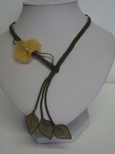collana seta fiore giallo - silk flower necklace