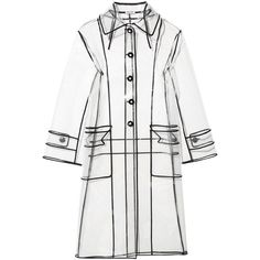 Miu Miu Grosgrain-trimmed PVC trench coat (€1.410) ❤ liked on Polyvore featuring outerwear, coats, jackets, white trenchcoat, white coat, white trench coat, pvc trench coat and pvc coat
