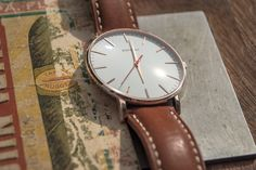 slim wrist watch minimalist design italian handmade leather strap