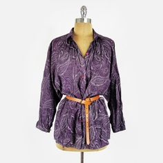 vtg 80s boho ethnic PAISLEY BATWING slv OVERSIZE button up tunic shirt top S/M/L $24.00
